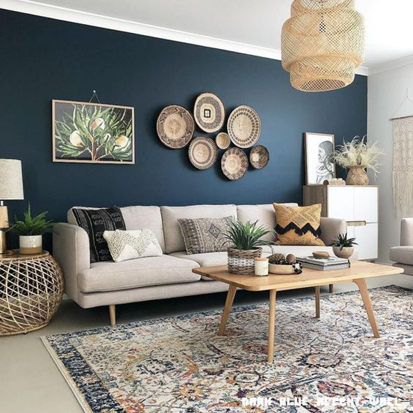 boho-living-room-with-dark-blue-accent-wall