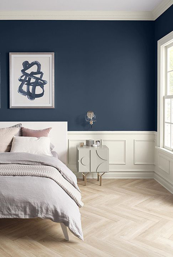 cool-navy-blue-accent-wall-bedroom