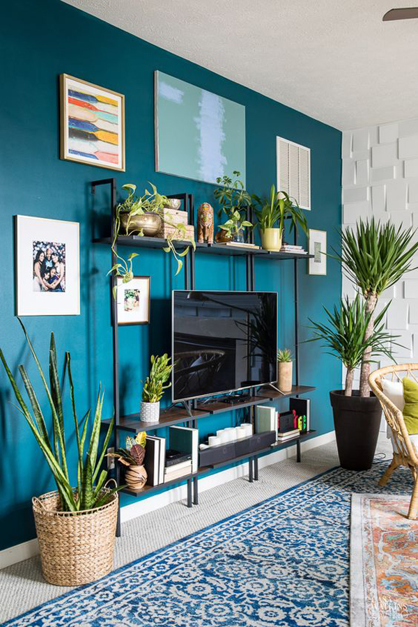 eclectic-blue-accent-wall-with-tv-wall