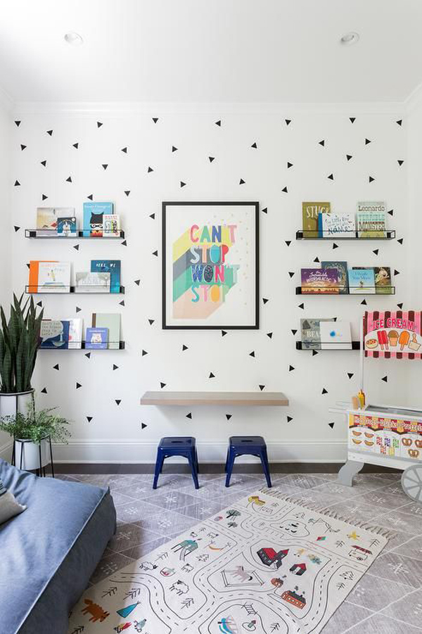 floating-kids-desk-with-triangle-wallpaper