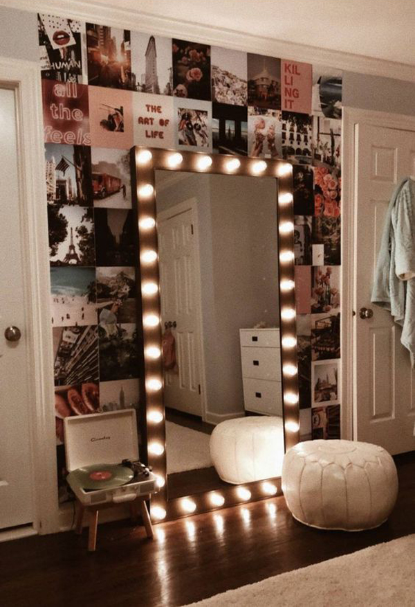 grunge-wall-decor-with-large-mirror