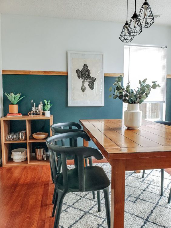 half-blue-accent-wall-for-dining-room
