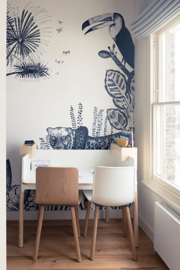 kids-desk-ideas-with-safari-wallpaper