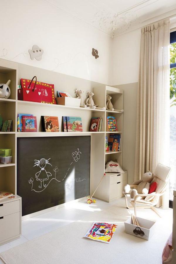 kids-playroom-with-chalkboard-wall-organizer