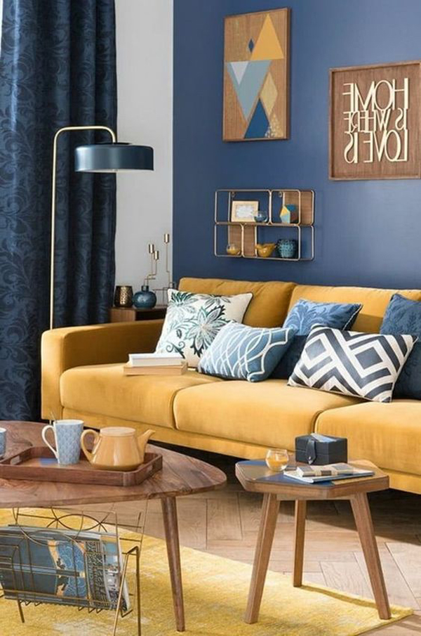 mid-century-living-room-with-dark-blue-accent-wall
