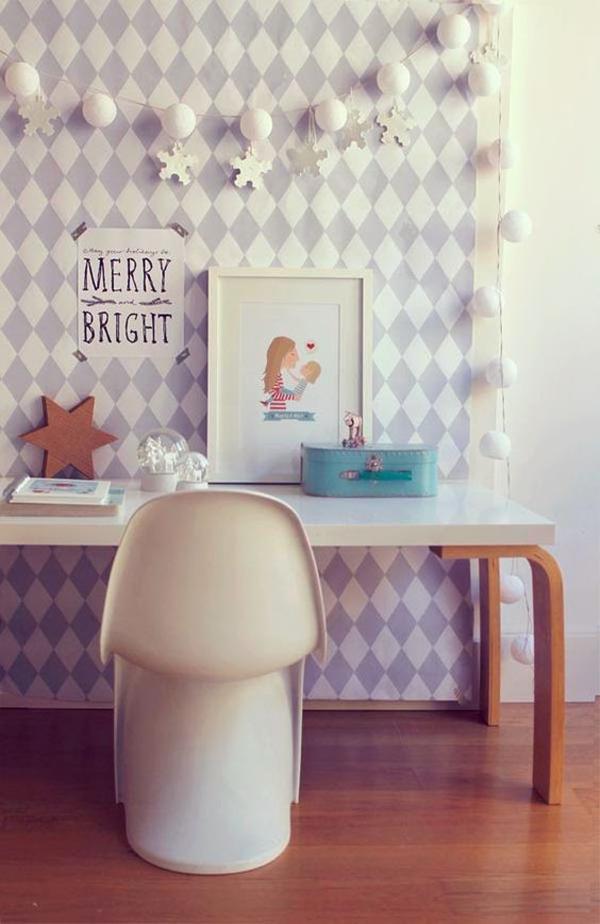 scandinavian-kids-desk-design-with-abstract-wallpaper