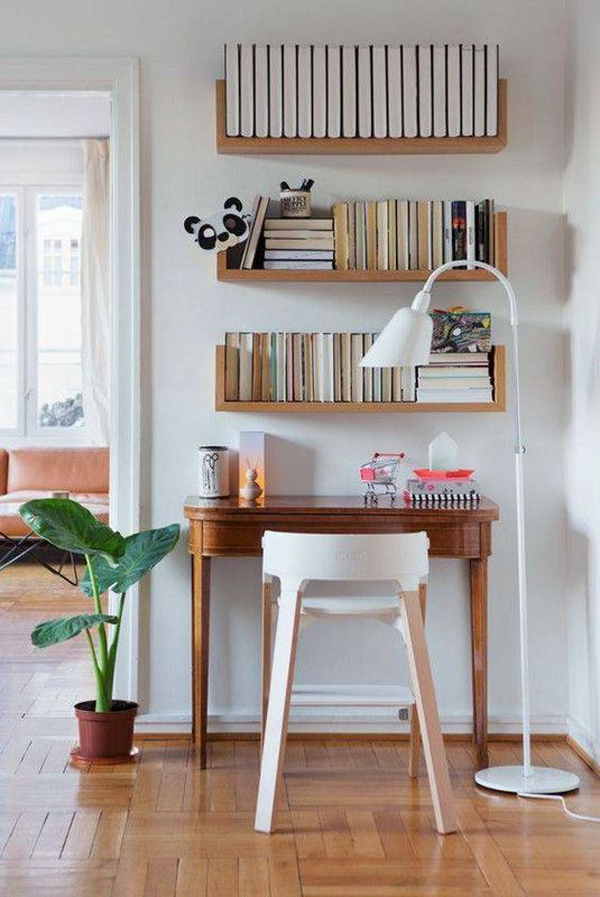 small-wood-home-office-with-wall-storage