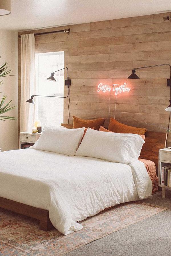 trendy-wood-bedroom-with-neon-wall
