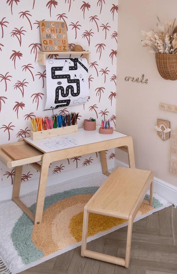 wooden-kid-desks-with-coconut-tree-wallpaper