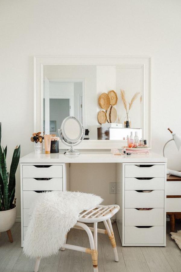 Boho-white-vanity-desk