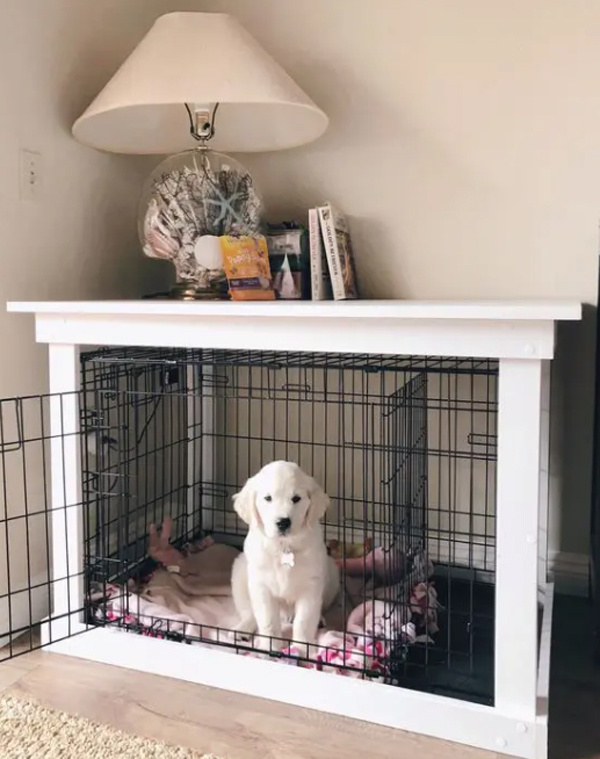 beautiful-dog-crates-with-bedroom-side-table