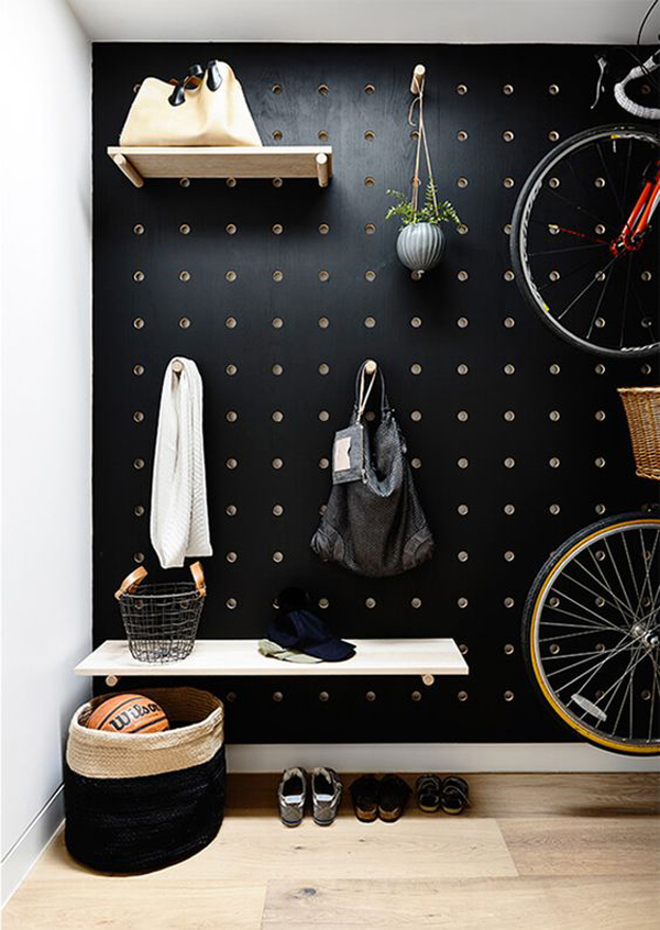 black-bold-pegboard-wardrobe-with-bike-storage