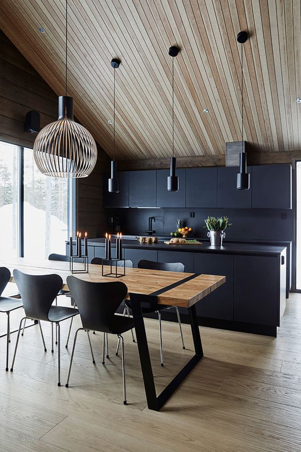 black-kitchen-design-with-wooden-table