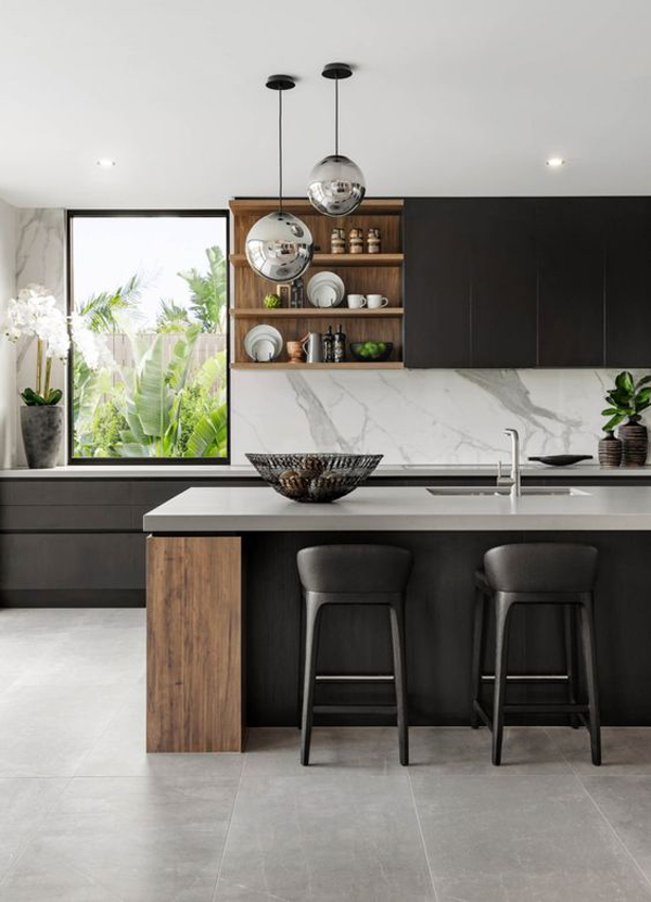black-kitchen-with-large-window-and-white-color-accents