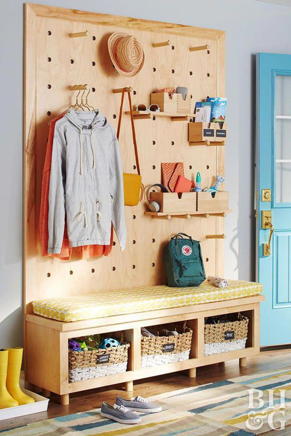 brilliant-pegboard-closet-with-benches