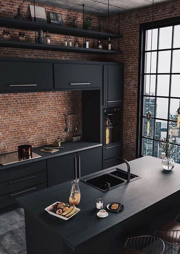 cool-black-kitchen-design-with-brick-exposed