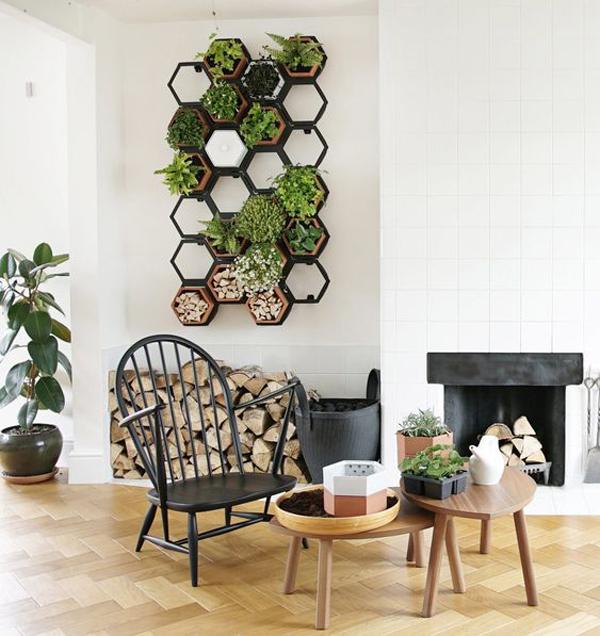 hexagonal-vertical-garden-for-living-room