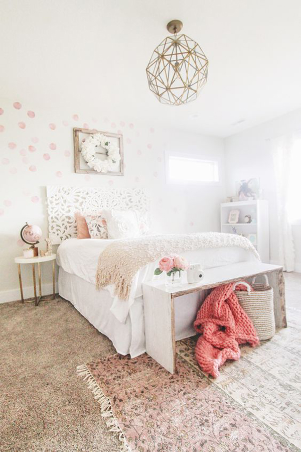 millennial-pink-bedroom-with-polka-dot-decals