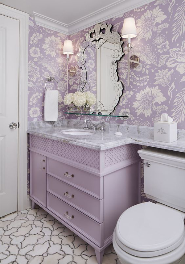 pretty-lilac-bathroom-with-floral-wallpaper