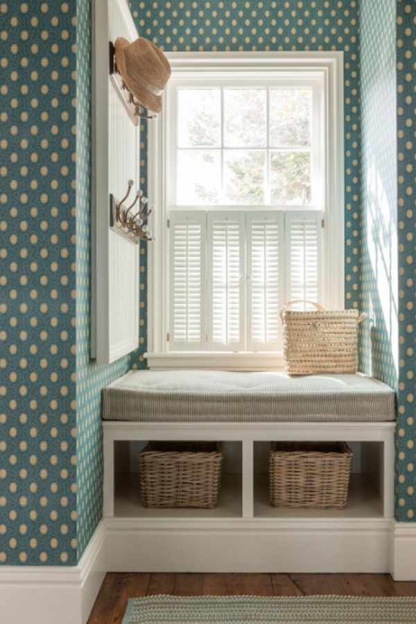 small-beach-inspired-mudroom-with-polka-dot-wall