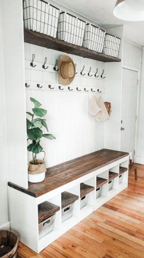white-diy-mudroom-organizer-with-benches