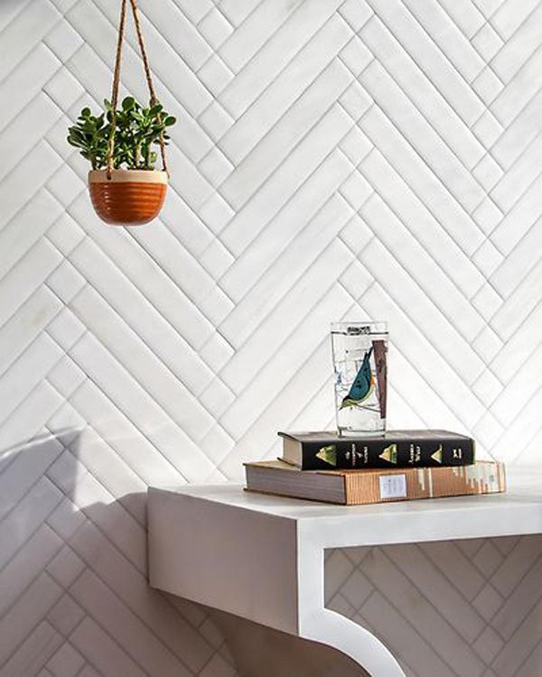 white-stone-mosaic-wall