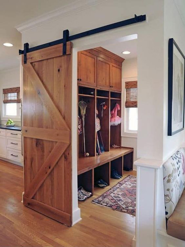 wood-mudroom-storage-ideas-with-barn-sliding-doors