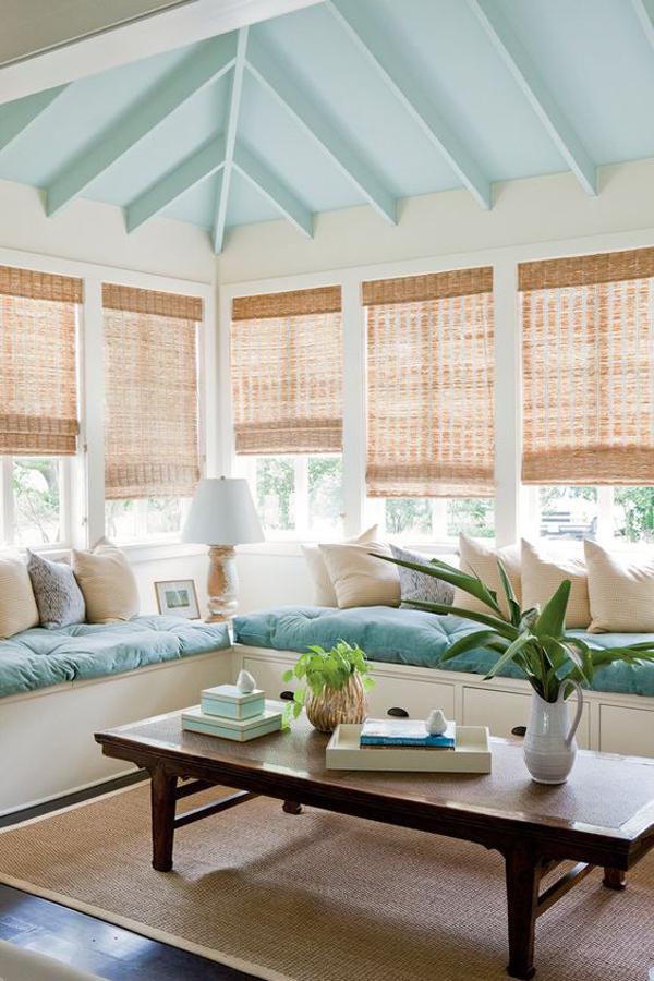 beach-style-sunroom-with-bamboo-curtains