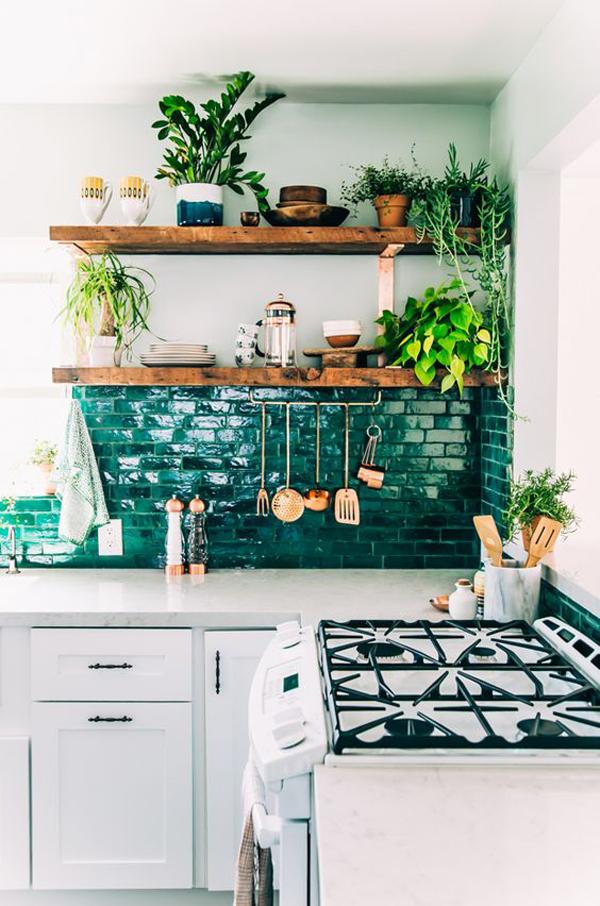 bohemian-kitchen-garden-with-green-backsplash