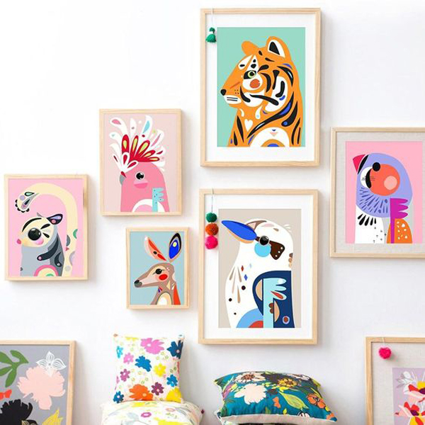 cute-colorful-cartoon-animal-gallery-wall