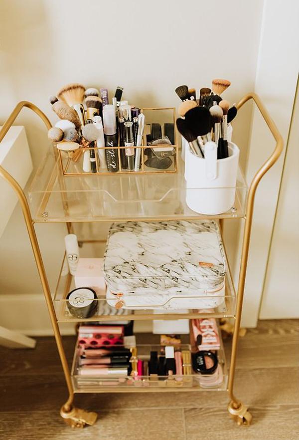 gold-bar-cart-makeup-organization-ideas