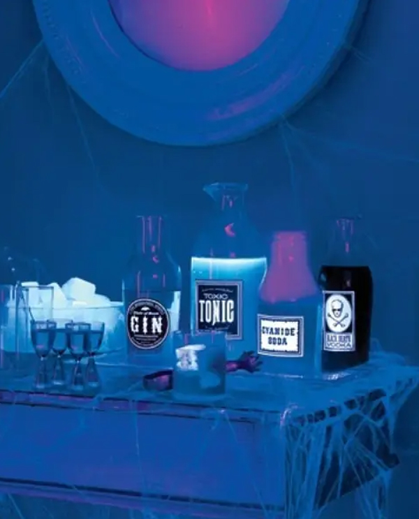 neon-blue-drink-station-for-halloween-party