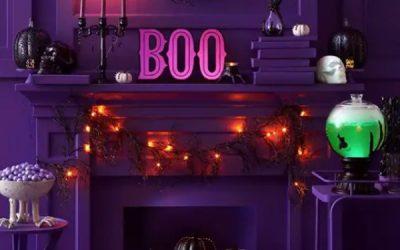 neon-halloween-mantel-decor