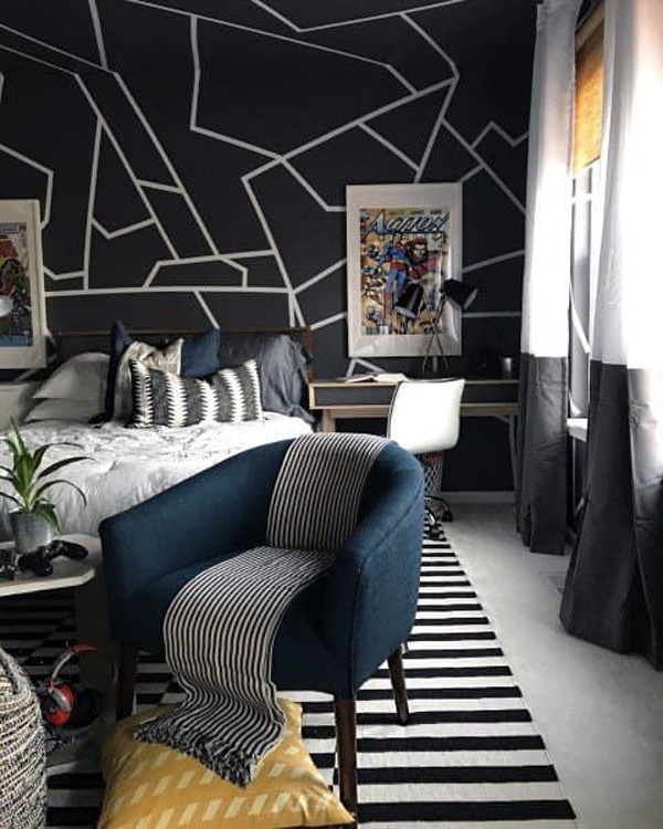 modern-teen-boys-bedroom-with-abstract-wall-accent
