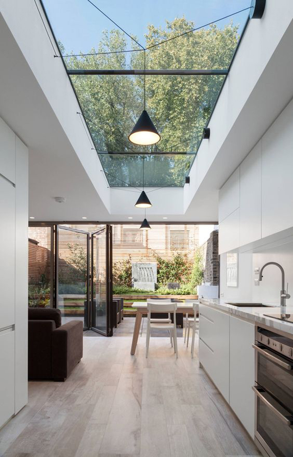 open-kitchen-and-dining-space-with-skylights